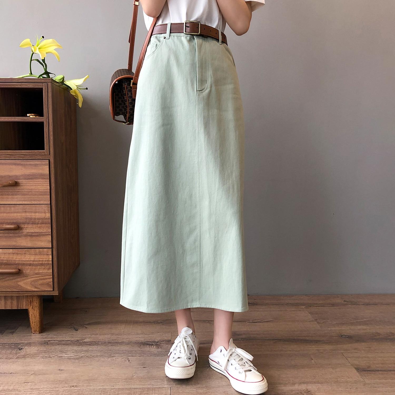CMAZ Summer 2021 New Women's Denim Skirt Vintage High Waist Jeans Skirt Female Cotton Straight A-lin