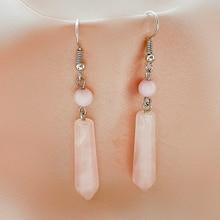 Cute Pin Crystal Drop Earrings for Women Elegant Gifts Rose Quartz Jewelry Natural Stone Dangle Stat
