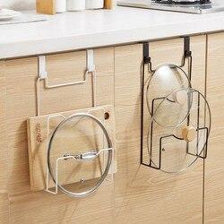 Porta do armário gancho pan pote tampa rack suporte de fogão organizador pique placa drenagem armazenamento titular rack prateleira acessórios cozinha 0