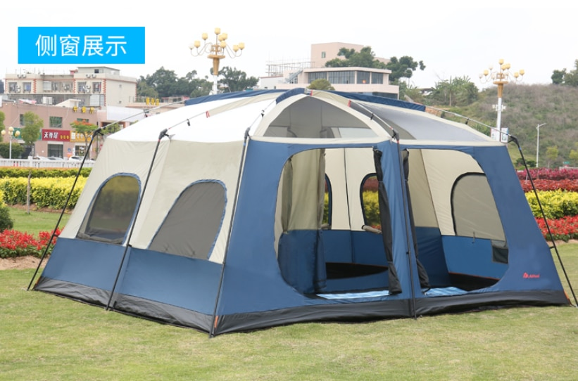 Rain proof 6-12 people camping two rooms one living room double deck tourist tent outdoor camping