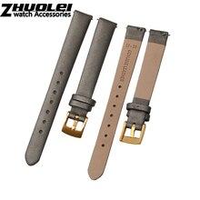 Correa de reloj de seda hilada para relojes Swarovski correa de 12mm gris con cierre de acero inoxidable pulsera de moda de liberación rápida