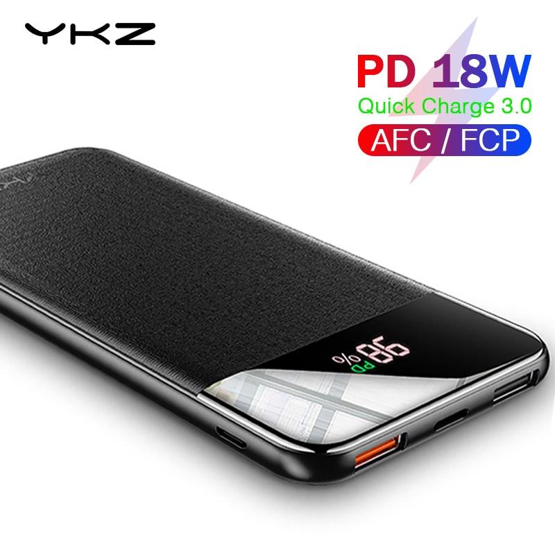 YKZ QC 3,0 внешний аккумулятор 10000 мАч LED внешнее зарядное устройство батарея Poverbank PD Быстрая быстрая зарядка 12 В Powerbank для iPhone Xiaomi mi