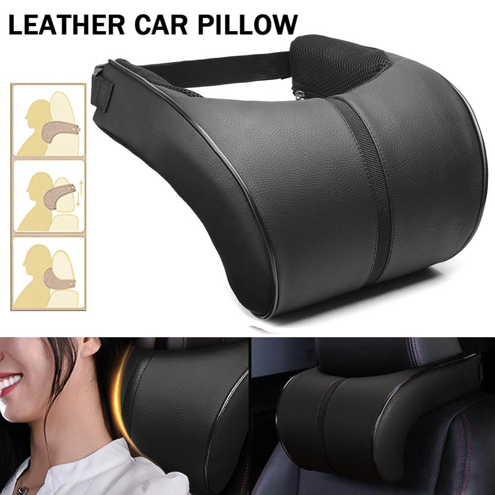 New Car Neck Pillow,Car Leather Memory Foam Pillow Seat Head Neck Head Rest Cushions Travel Car Pillow Tools DropShipping