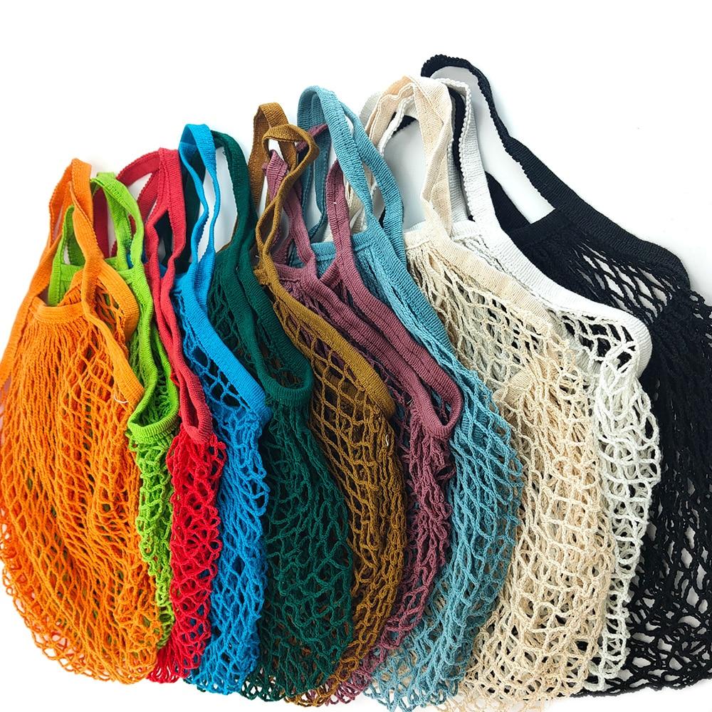 Преносими торбички за хранителни стоки за многократна употреба, торбичка за плодови зеленчуци, миеща се памучна мрежа, чанта за органични органични чанти къса дръжка мрежа