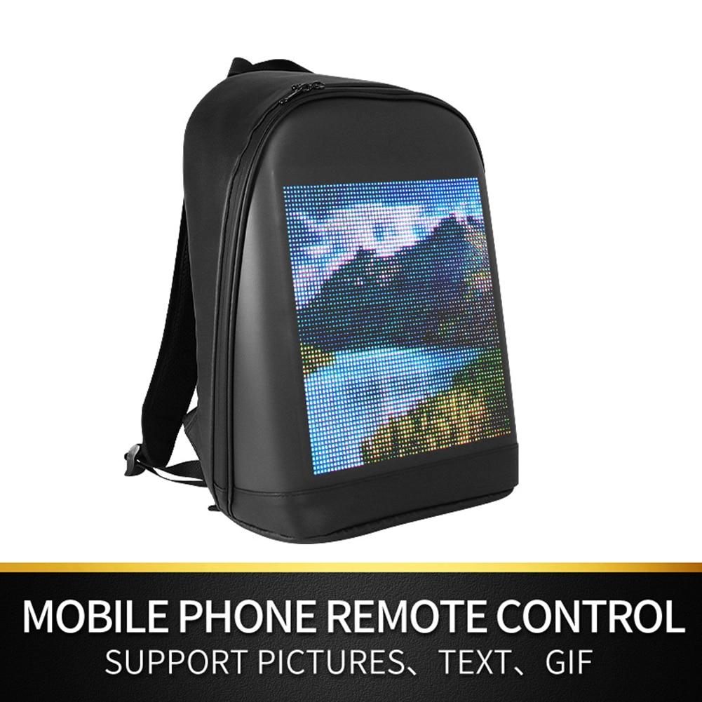 Waterproof Single Shoulder Laptop Backpack LED Display Screen Advertising Light App Control Smart Wireless Wifi School Bag
