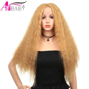 Long Hair Kinky Curly Synthetic Wig Lace Front Wigs Natural Hairline 150% Density For Black Or White Women Alibaby