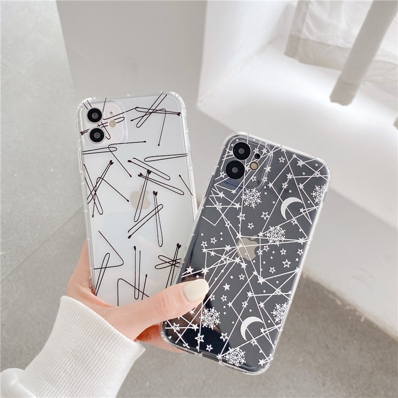 INS Simple lines phone case for iPhone 12 12Mini 11 Pro XS Max SE X XR 7 8 Plus abstract starry sky clear soft TPU cases cover