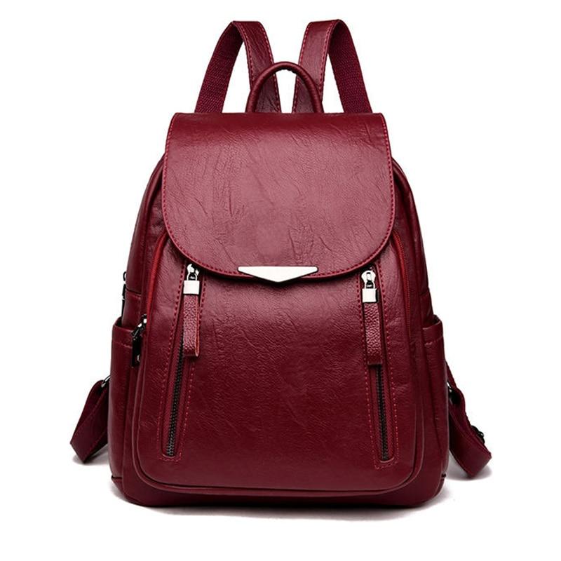 Pu Leather Backpack Women Black 2020 New Women yellow Backpack female Solid Bagpack Ladies Backbag Back Pack red 0P35