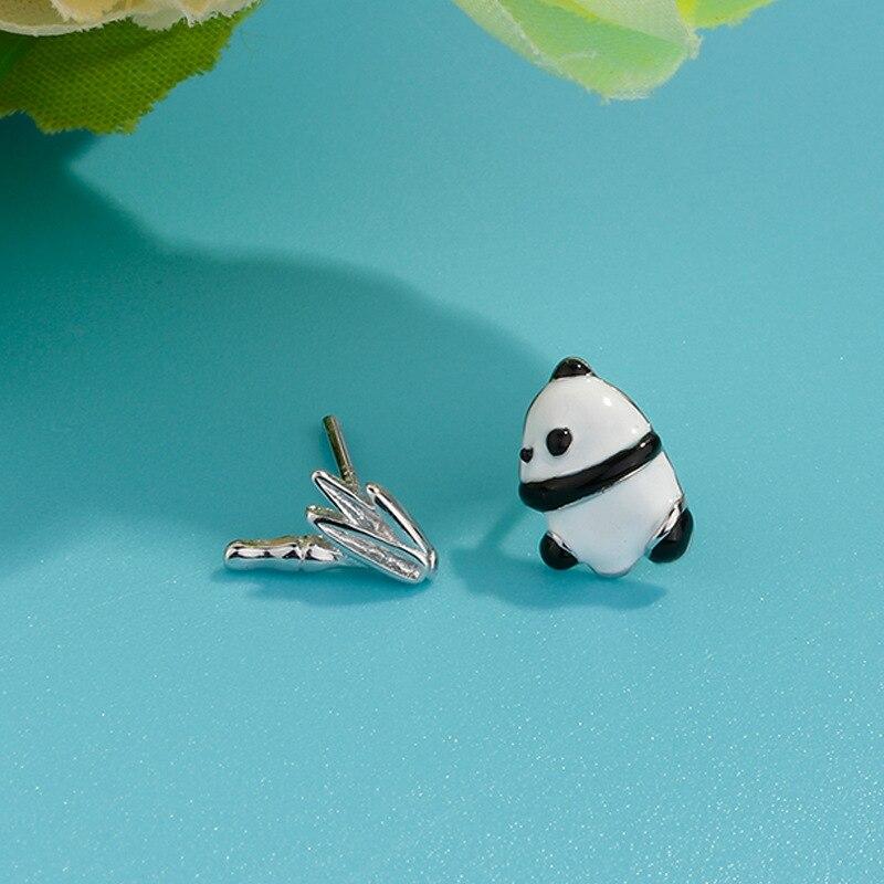 FLSCDYED negro y blanco Panda bambú Stud pendiente para adolescentes hija niña 925 plata esterlina asimetría joyería de personalidad
