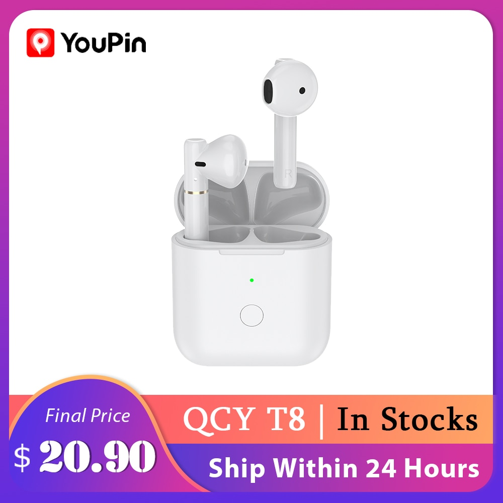 YouPin QCY T8 Wireless Bluetooth Headset Binaural Semi-In-Ear Sports Running Car Call With Long Battery Life Microphone Headset