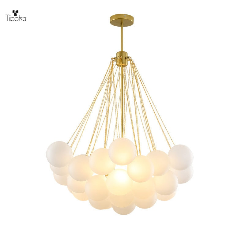 Tiooka-مصباح معلق LED على شكل كرة زجاجية ، تصميم حديث ، متوفر باللونين الأسود والذهبي ، إضاءة داخلية مزخرفة ، مثالي للمطعم أو المقهى ، 20/37