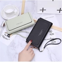 womens wallet buckle long solid color zipper coin purses female letter wristband card holder ladies high capacity clutch bag