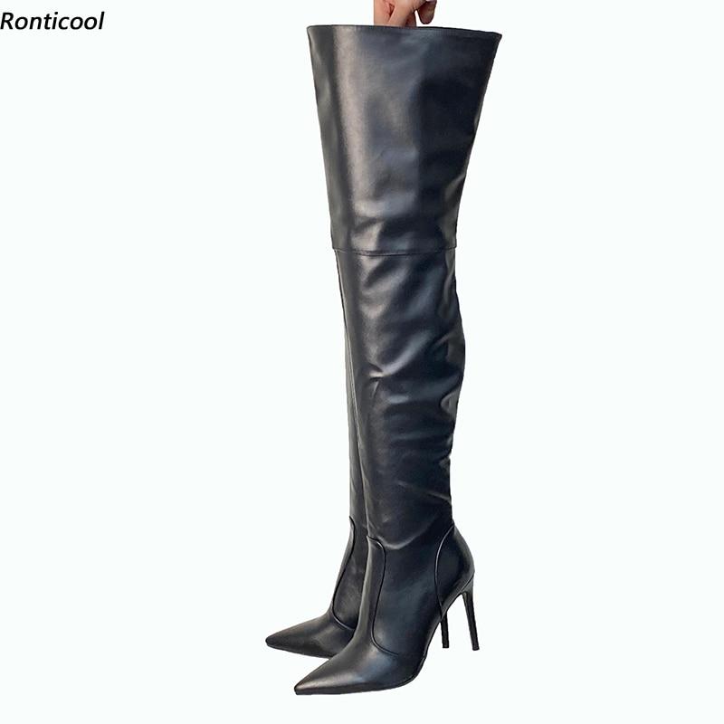 Ronticool اليدوية جودة النساء الشتاء الفخذ أحذية عالية مثير Stiletto عالية الكعب أشار تو حذاء أسود النساء لنا حجم 5-15