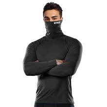 Mask Men's T-shirt Compression Shirt Running Fitness High Neck t-shirts Gym Top Thermal Underwear Sp