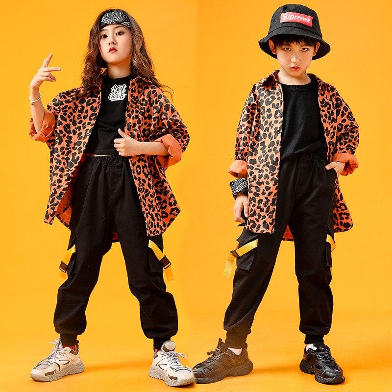 طفل الهيب هوب الملابس ليوبارد طباعة المتضخم قميص علوي أسود الشارع الشهير سراويل البضائع الانيقة للفتيات الصبي ملابس رقص الملابس