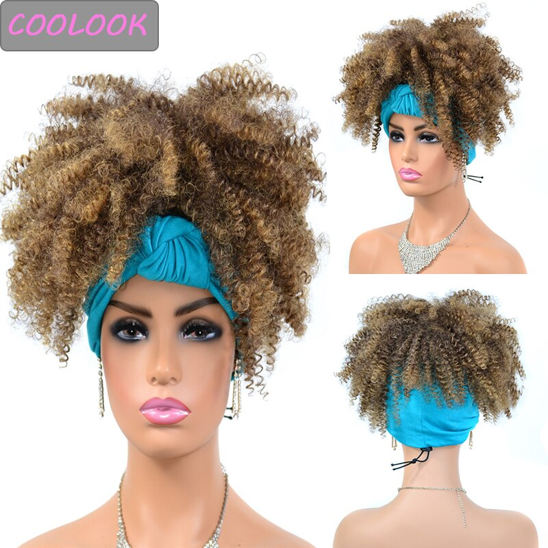 14'' Afro Kinky Curly Headband Wig African American Natural Curly Headwrap Wig Synthetic Cosplay Blue Turban Wig for Black Women