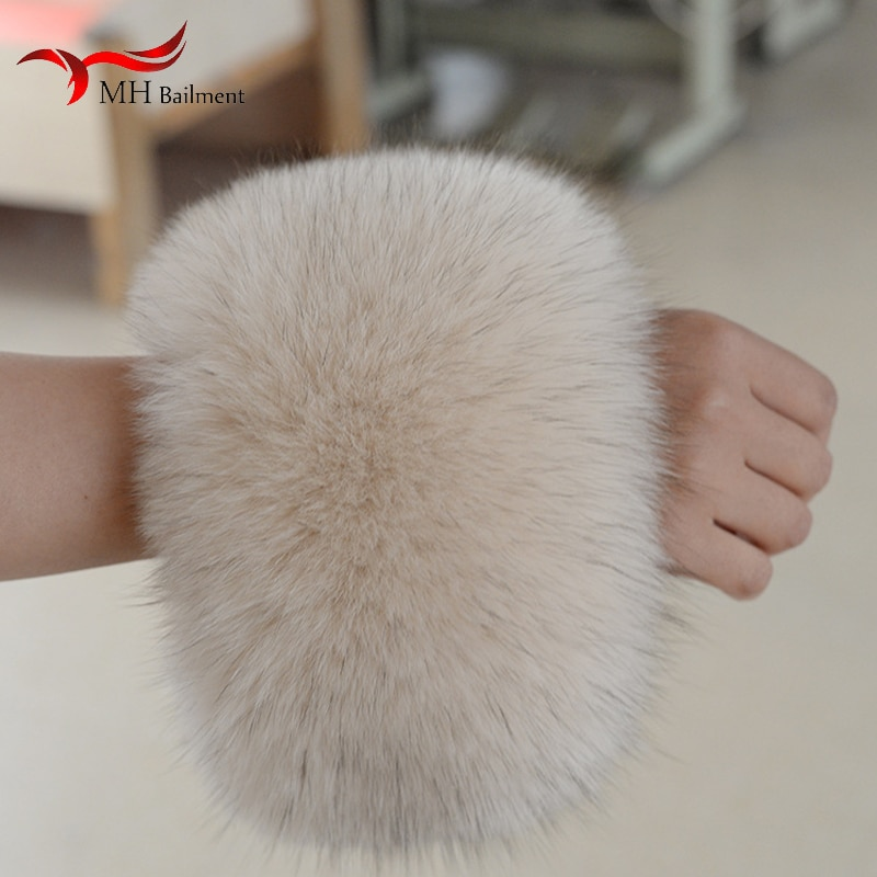 Winter 2020 Warm 100% Real Fox Fur Cuffs Genuine Ladies Warm Arm Cuff Sleeve Natural Fox Wrist Fashion Luxury Sleeves Women