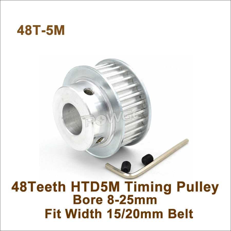 POWGE 48 الأسنان 5M توقيت بكرة تتحمل 8-25 مللي متر صالح عرض 15/20 مللي متر HTD 5M توقيت حزام 48T 48 الأسنان HTD 5M متزامن بكرة
