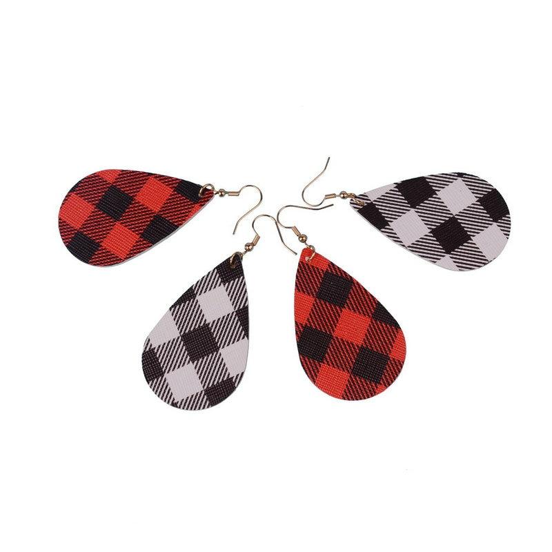 Nueva moda de dos lados patrón de tela escocesa cuero colgante pendiente...