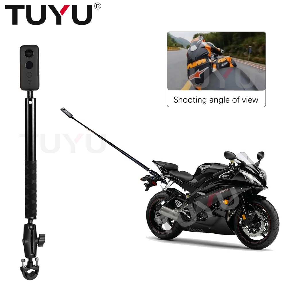 TUYU Motorcycle Bike Invisible Selfie Stick Monopod Handlebar Mount Bracket for GoPro Max 9 Insta360 One R X2 Camera Accessories