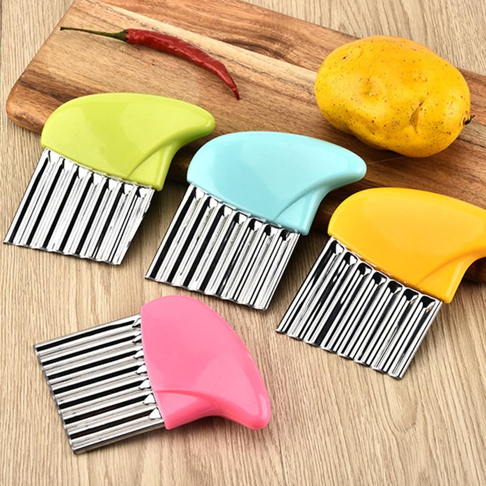 Útil cortador de verduras y zanahorias de acero inoxidable, cuchilla corrugada, cortador de patatas fritas, cuchillo de cocina corrugado, patatas fritas arrugadas
