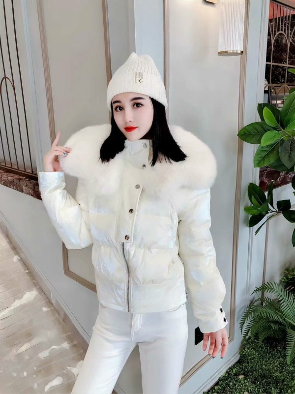 Bright Leather Short Cotton-padded Coat Women Loose Fashion Fur Collar Zipper Solid Color Thicken Parka Coat Winter Women Jacket