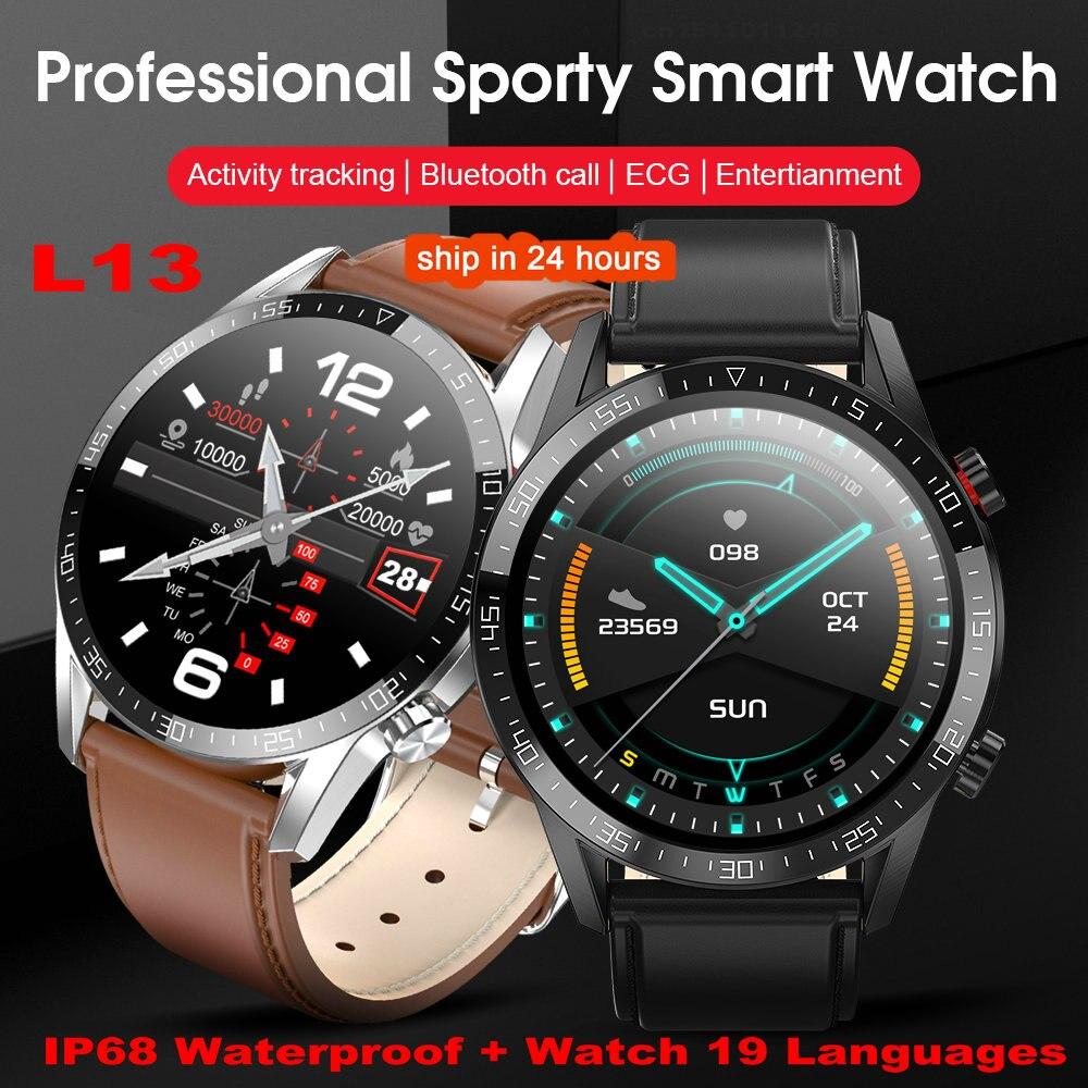 2020 l13 relógio inteligente masculino ecg ppg ip68 à prova dip68 água bluetooth chamada pressão arterial freqüência cardíaca esporte smartwatch android pk l7 dt78