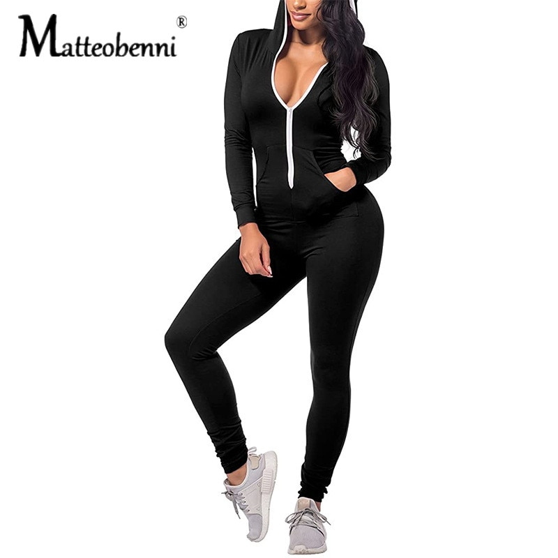 Fitness Sexy Bodycon Rompers Womens Jumpsuit 2021 Autumn Winter Pink Black Casual Slim Long Sleeve Turtleneck Zip Up Jumpsuit