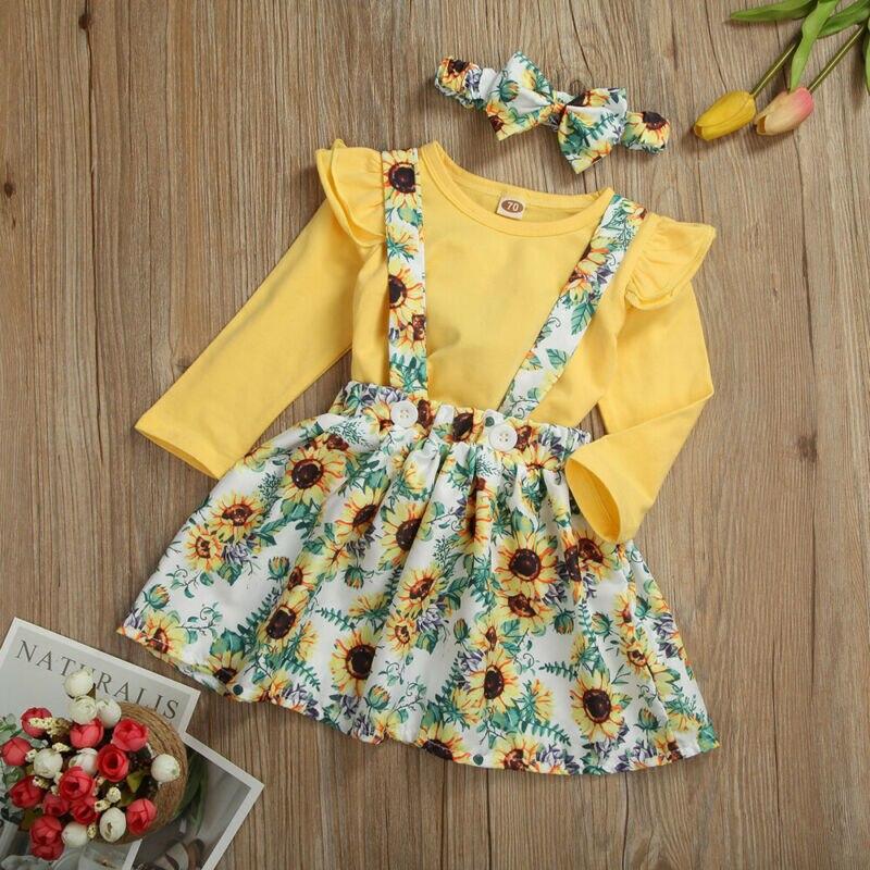 3 uds princesa niña ropa de bebé Infante niña ropa volantes girasol tapas falda diadema trajes ropa conjunto 0-3T