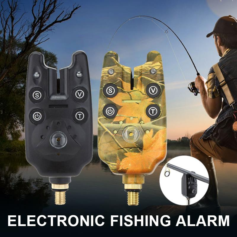 Deportes de sonido ajustable Beeper Bite alarma impermeable camuflaje negro 9*4*4cm al aire libre pesca anuncio duradero