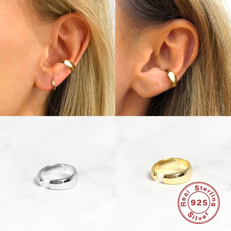 Plata de Ley 925 trepadores de plata de la oreja de polaco brillante Clip no perforante pendiente para las mujeres diario accesorios de joyería fina Earcuff W4