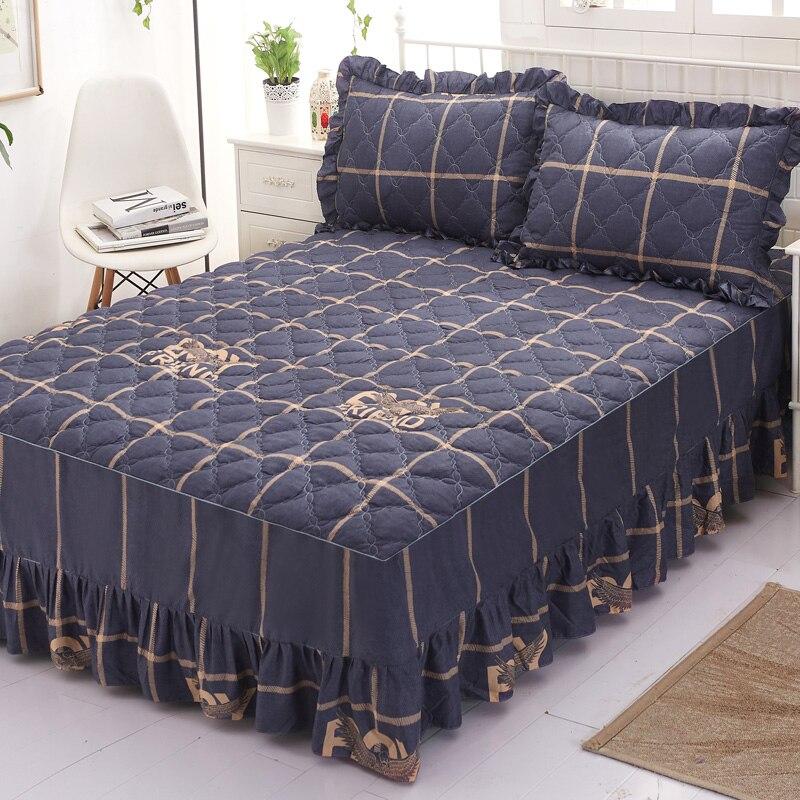 الخريف والشتاء جديد سميكة العزل الدافئة غطاء سرير مصنوع من القطن تنورة نوم نوع ثلاثة قطعة الغطاء الواقي تنورة نوم Sin