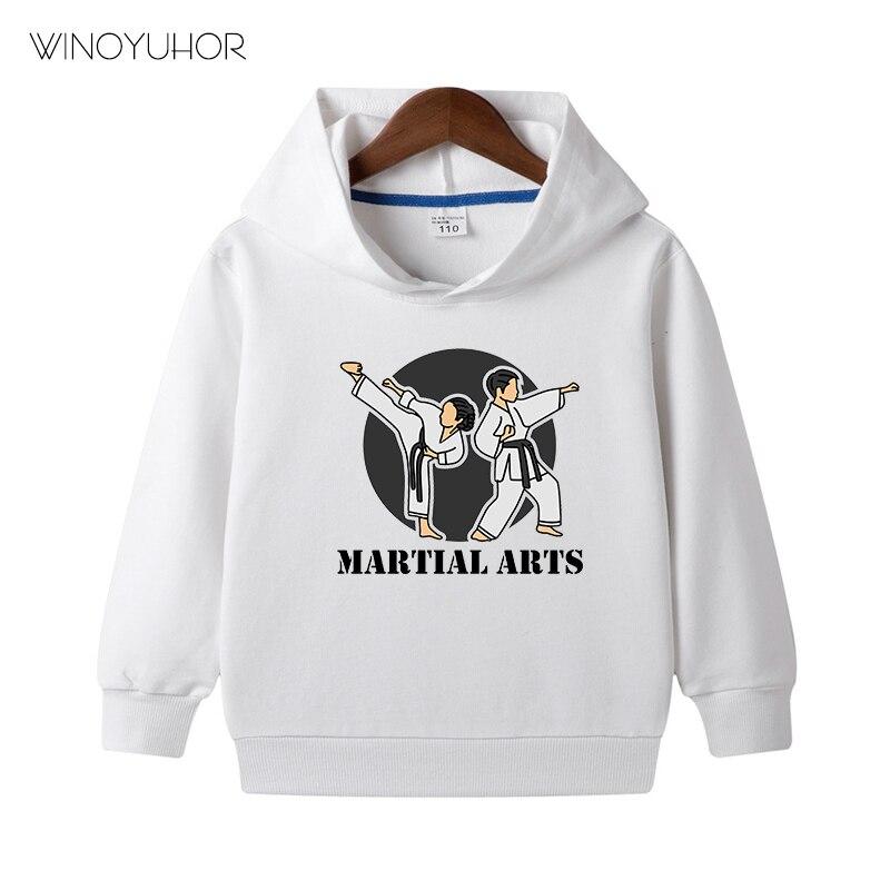 Martial Arts Judo Karate Taekwondo Hoodies Baby Boy Girls Autumn New Casual Sweatshirt Hip Hop Child