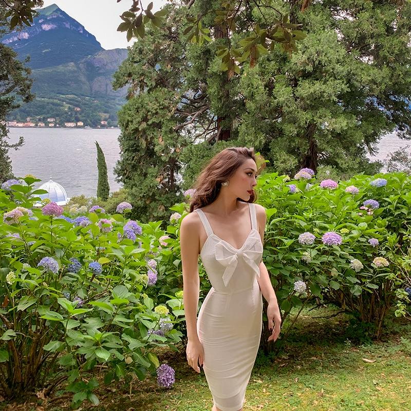 Женское винтажное платье на бретельках Le Palais, белое винтажное элегантное платье выше колена с бантом, лето 2020