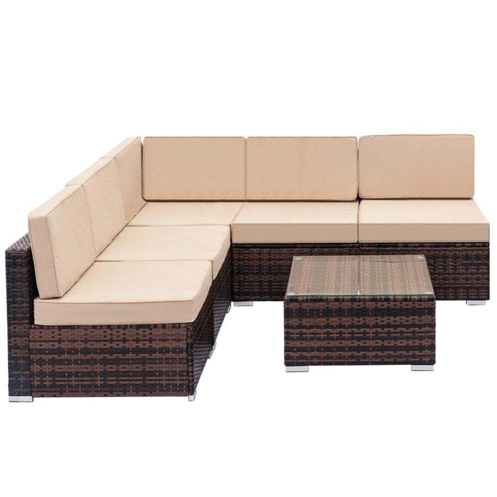 Полностью оборудованный плетеный диван из ротанга с 1 угловым диваном, 4 одиночными диваном и 1 вкладышем для кофе подъемные кровати с диваном