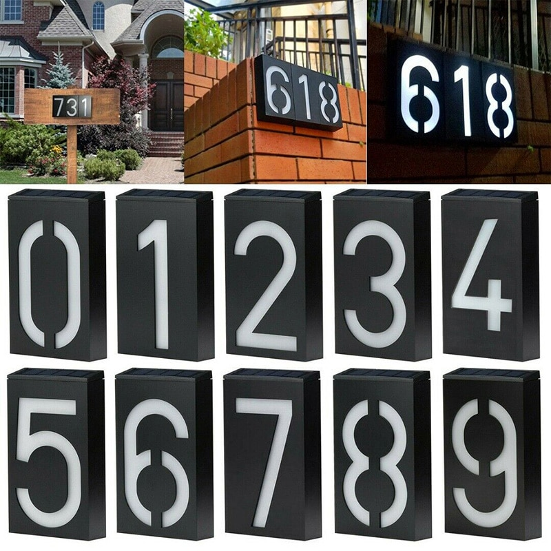 House Number Solar Powered Doorplate Address Sign Plate House Number Outdoor Porch Lights With Solar Rechargeable Battery