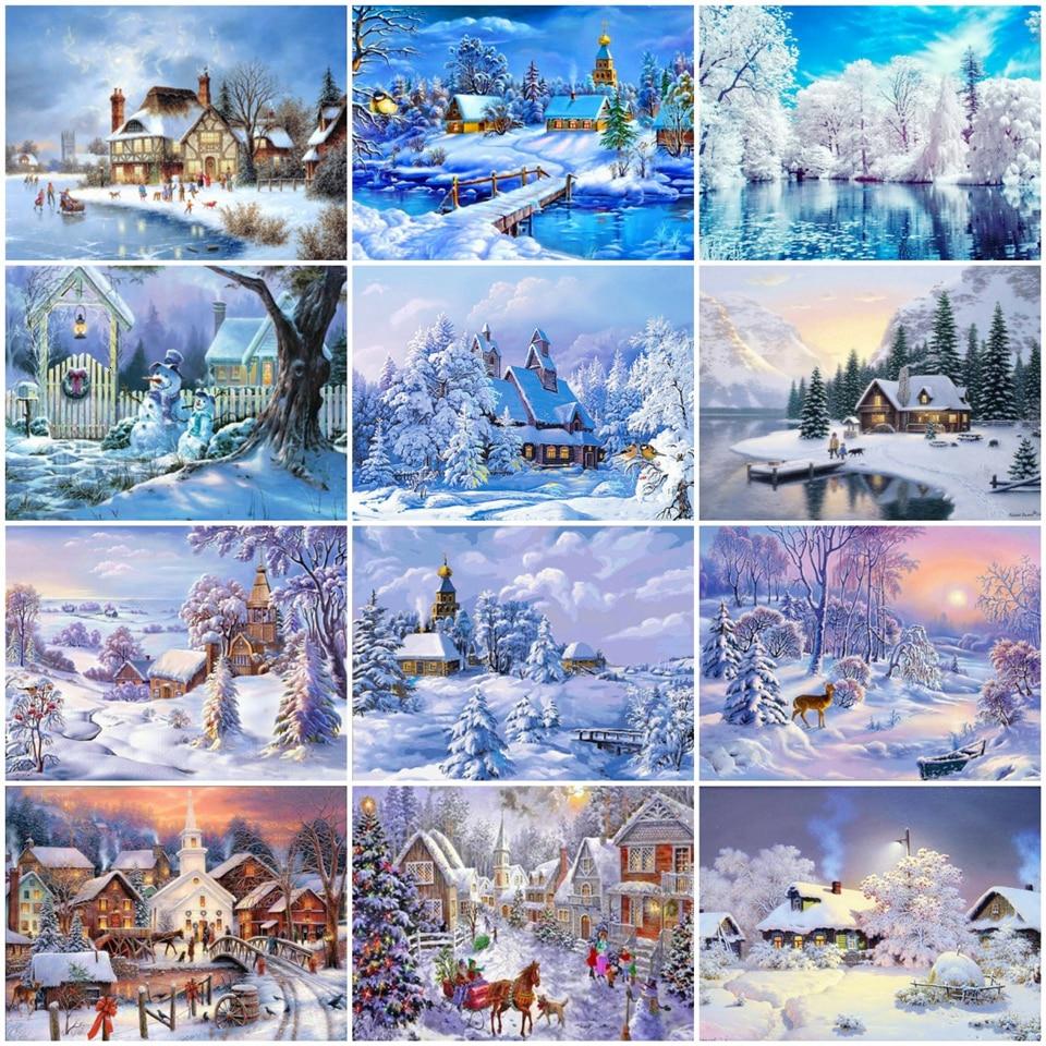 Azqsd pintura diamante quadrado completo inverno 5d diamante bordado cenário imagem de strass kit artesanato ponto cruz decoração da sua casa