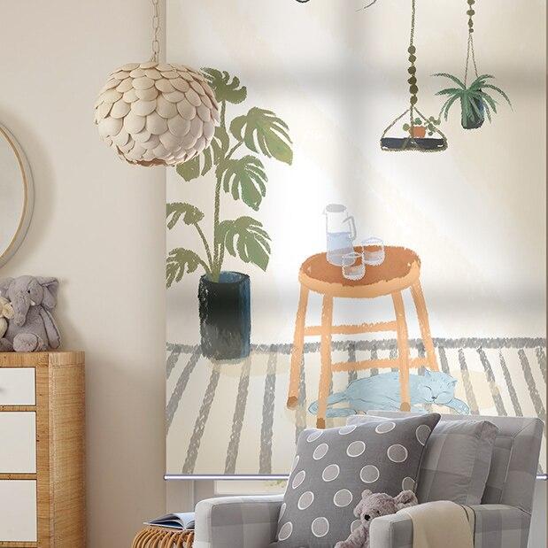 Cortina doble en rollo, cortina, cortina, baño, cocina, elevación manual, persiana solar para balcón