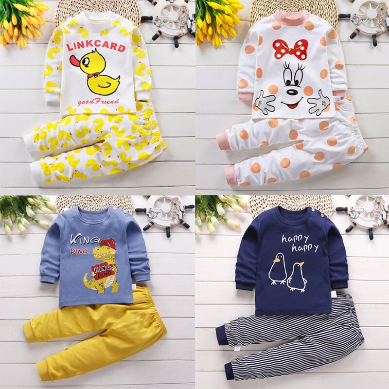 New Children Pajamas Set Autumn Soft Cotton Thermal Underwear Kids Cartoon Animal Sleepwear Boys Clo