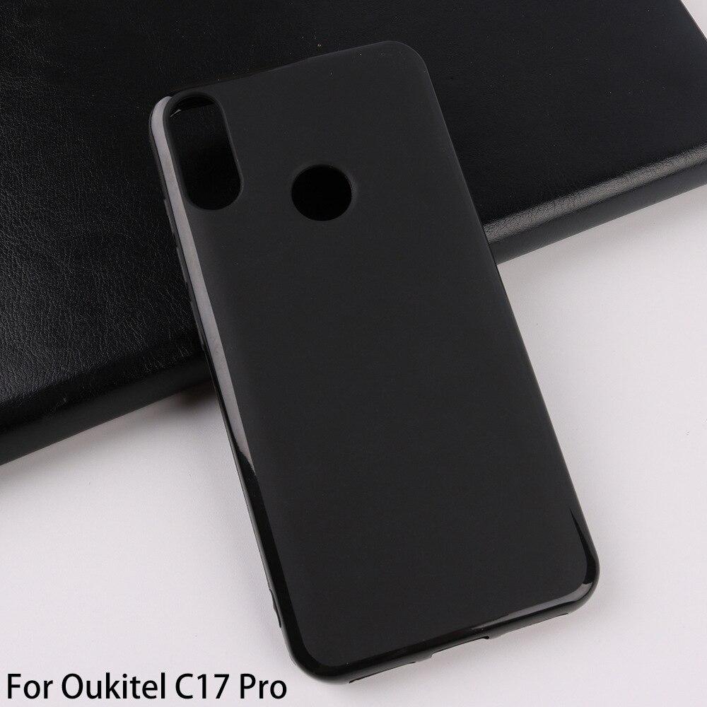 Para oukitel c17 pro caso de telefone tpu silicone macio volta capa protetora para oukitel c17 borracha preta caso