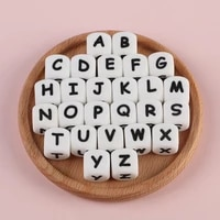 sunrony 10pcs 12mm english alphabet silicone beads used for baby pacifier chain bracelets to make food grade chew toys