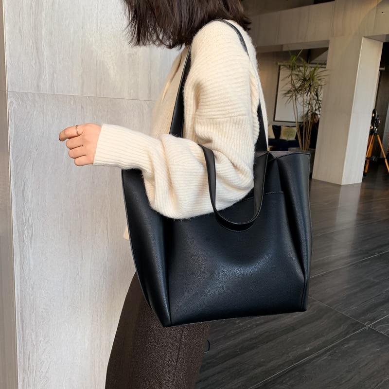 Hot البيع حقيبة نسائية كبيرة سعة كبيرة حقائب كتف جودة عالية بولي leather حقائب كتف جلدية السيدات البرية أكياس كيس فام الرئيسي