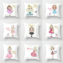 Housse de coussin en Polyester pour fille   Couverture de coussin décorative, 45*45cm, pour la maison, le canapé-lit, petite princesse