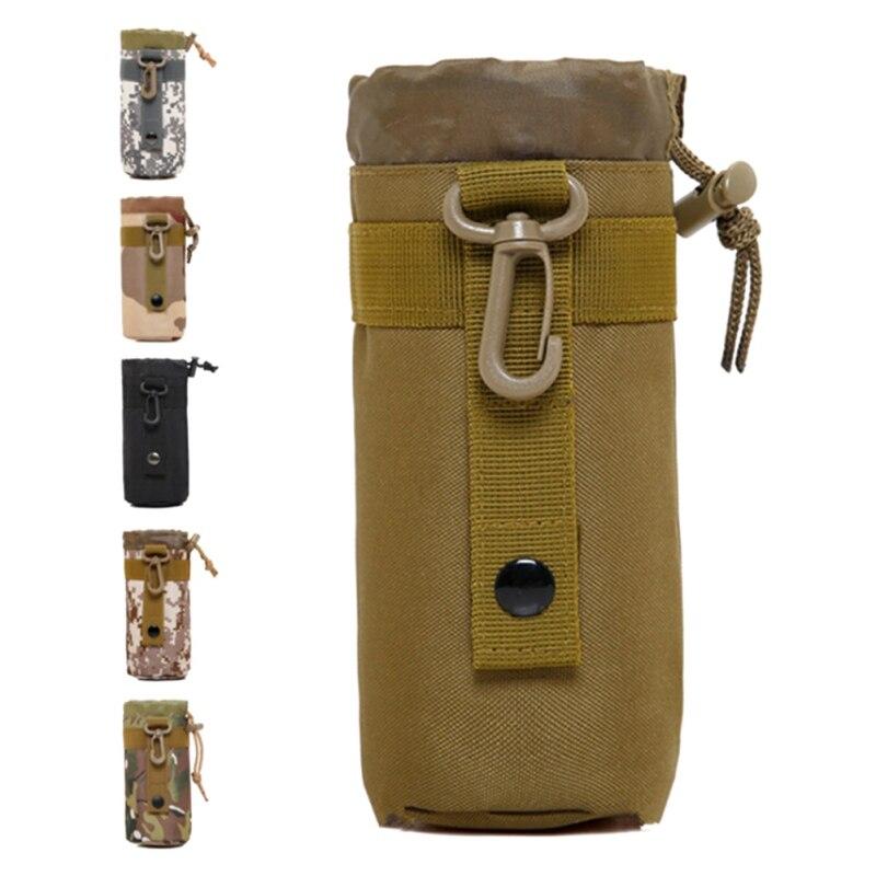 Bolsa para botellas de agua, bolsa para deportes al aire libre, cordón de camuflaje, portabotellas portátil para botellas de agua, funda cartuchera con sistema Molle