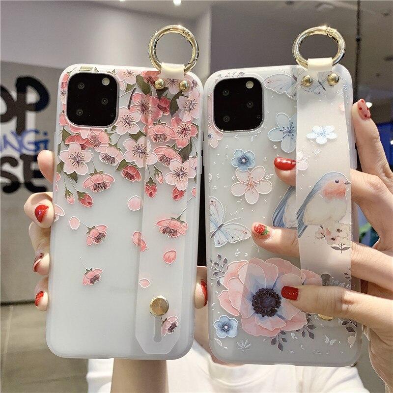 Coque iPhone 11 Pro Max teléfono TPU suave titular caso para Etui iPhone 11 8 Plus 6 6s 7 X XR Xsmax flor muñeca Correa