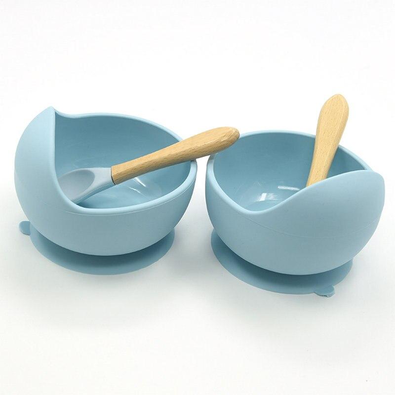 Детская силиконовая посуда, набор для кормления без БФА, деревянная ложка, всасывающая миска, детская посуда, высококачественный силикон