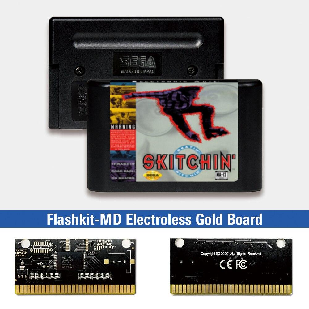 Skitchin-USA Label Flashkit MD tarjeta PCB de oro sin electrodos para Sega...