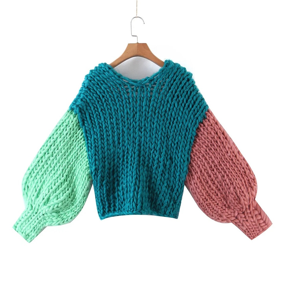 Winter Cardigan for Women Handmade Wove fashionable stitching contrast color Knitted Loose Women's Sweater Coat long sleeve top enlarge