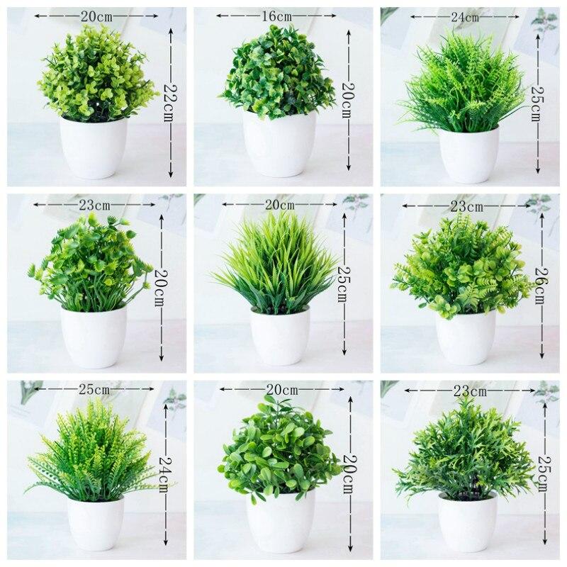 1 Pcs Green Artificial Plants Bonsai Small Tree Pot Plants Fake Flowers Potted Ornaments Home Decoration Hotel Garden Decoratio