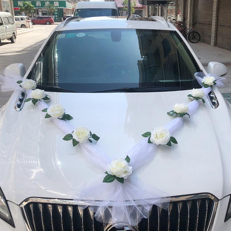 White Color Simulation Rose Artificial Flower for Wedding Car Decoration Bridal Car Decorations Wedding Party Decor